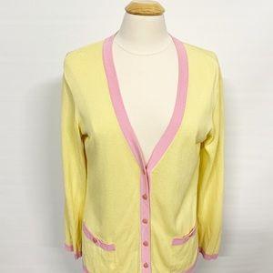 Escada | Pink Yellow Button-up Cardigan Sweater